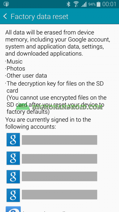 Factory Data Reset Content Galaxy Note 4