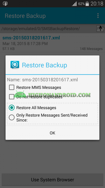 Android Messages Restore 3
