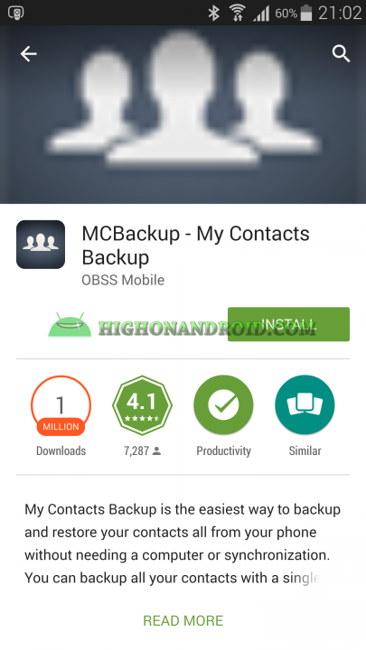 Android Contacts Backup MC1