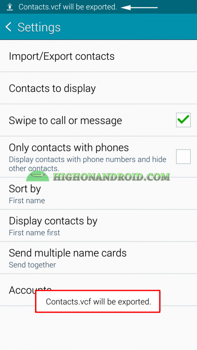 Android Contacts Backup 7