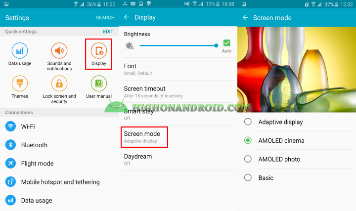 Galaxy S6 Edge Different Screen Modes