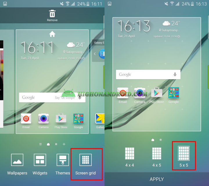 samsung s6 how to change theme setting