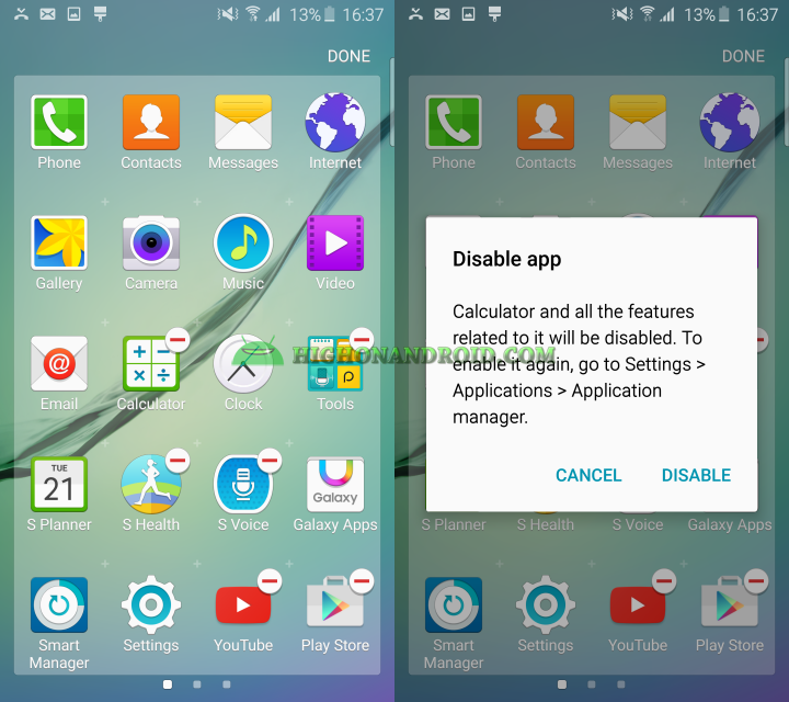 Galaxy S6 S6 Edge Disable and uninstall unwanted apps