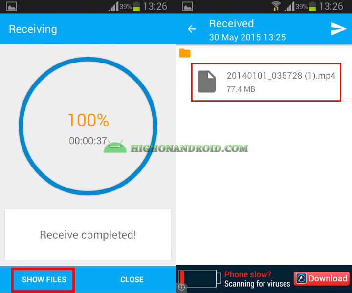 Transfer large files between two android devices with Superbeam 13