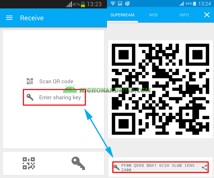 Transfer large files between two android devices with Superbeam 8