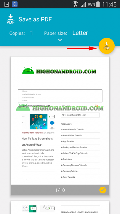 Covert Web Pages to PDF file on Android 5