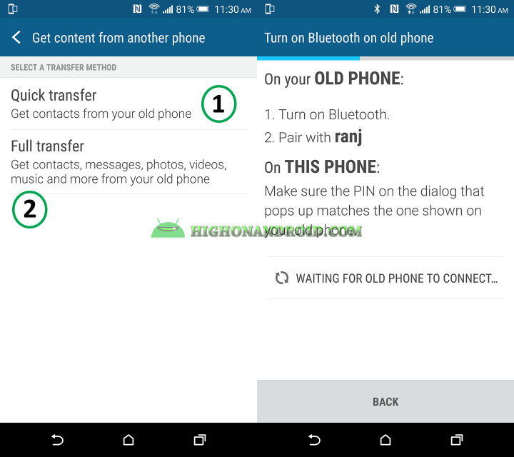 How To Transfer photos, videos, contacts, messages from your older phone to htc one m9 plus 2