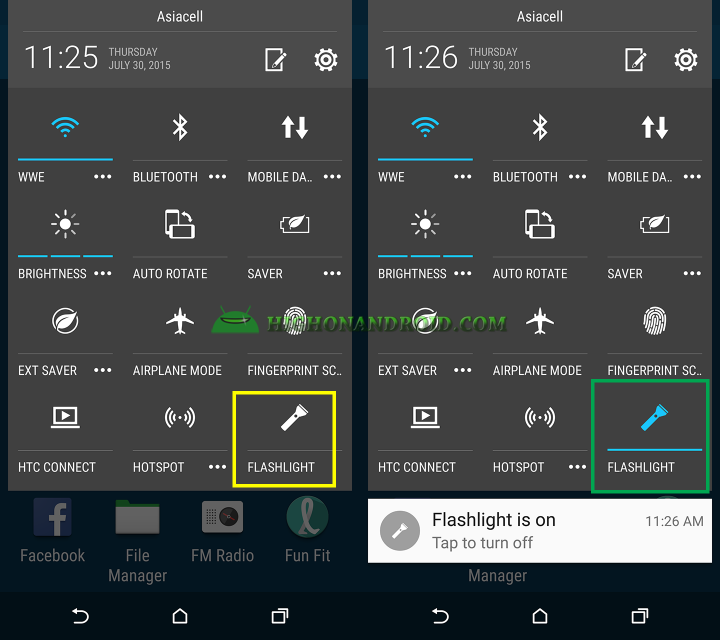 How To Use Built in flash light on htc one m9 plus