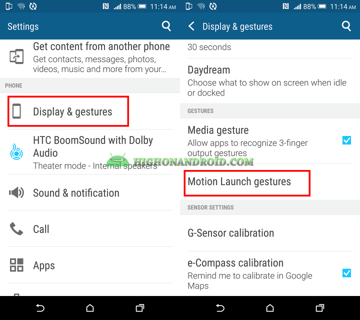 How To Use Motion Launch Gestures on Htc one m9 plus