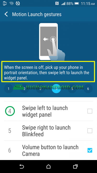 htc one m9 plus Swipe left to open widgets