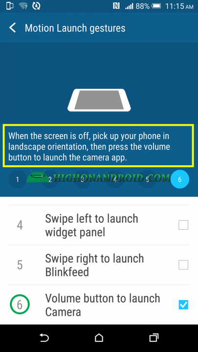 htc one m9 plus tap on volume button to open camera app