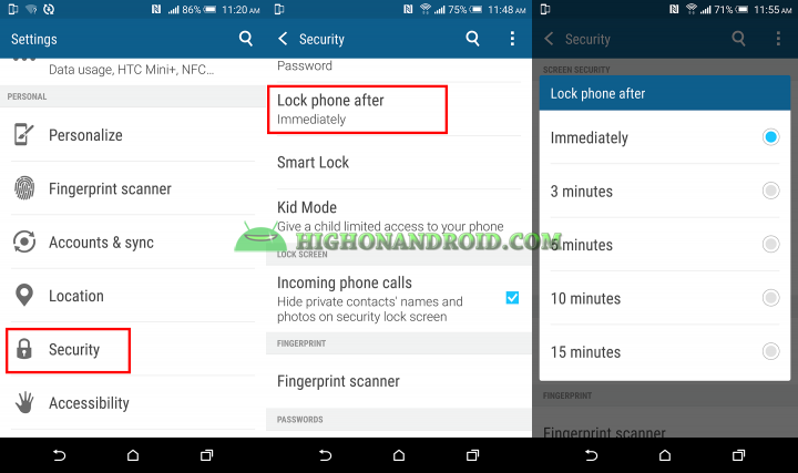 Customize screen lock time on htc one m9 PLUS