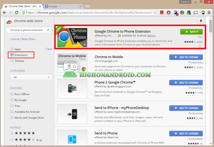 How To Directly Send Web page links from PC to  your android device 4