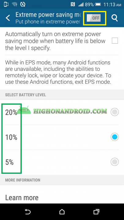 How To Enable Extreme Power Saving Mode On Htc One M9 Plus 2