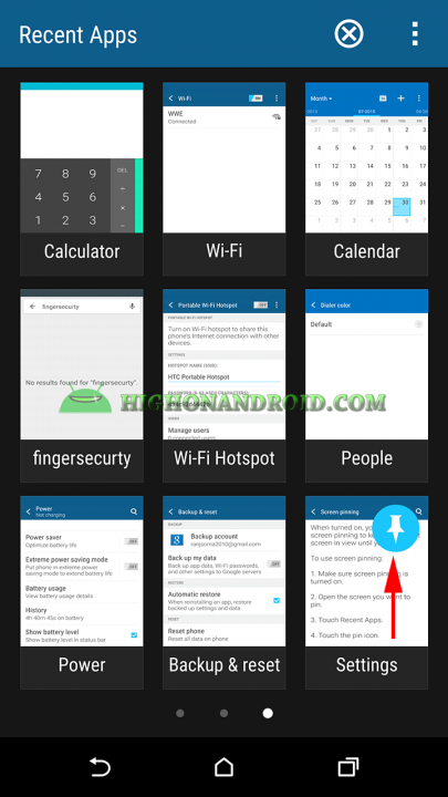 How To Enable Screen pinning feature on htc one m9 plus 4