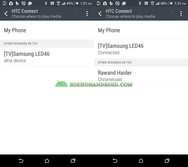 How To Play Media on TV using htc one m9 plus's htc connect feature 2