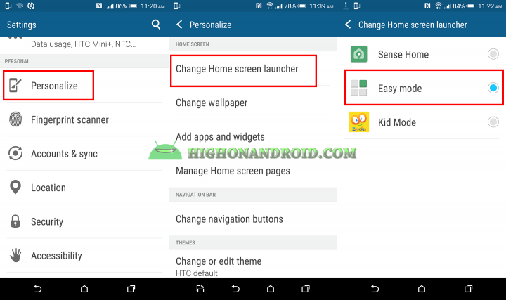 How to use and enable easy mode on htc one m9 plus 3