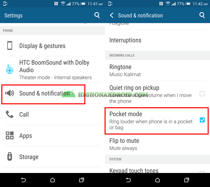 How to use enable pocket mode on htc one m9 plus