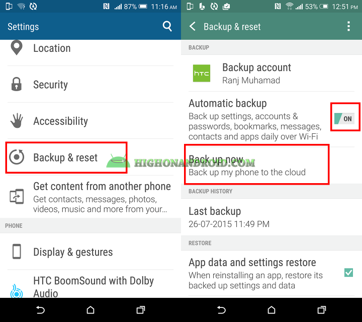 backup contacts, messages, settings, password, bookmarks , apps on htc one m9 plus 3