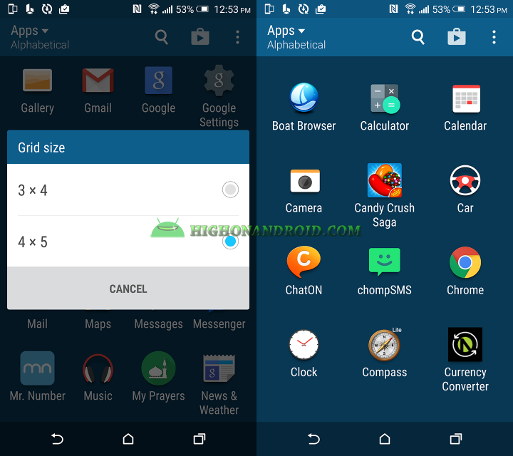 how to change grid size on htc one m9 plus 2