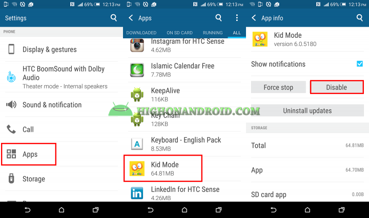 how to disable apps on htc one m9 plus