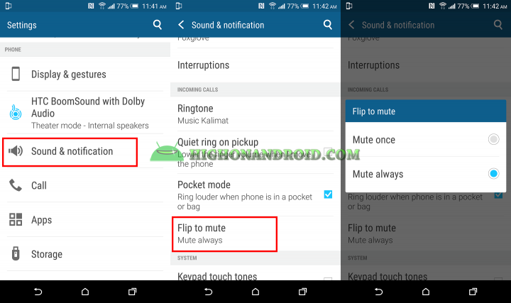 htc one m9 plus flip to mute phon calls