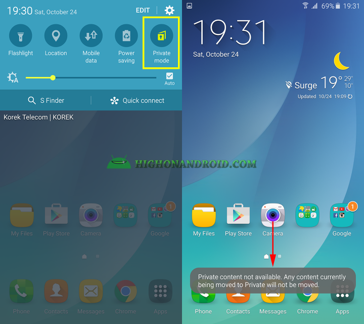 How To hide contents on galaxy note 5 using private mode 8