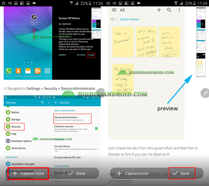 How to Take continous screenshots on Galaxy Note 5 using Scroll Capture Feature 3