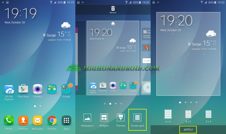 how to change screen grid size on galaxy note 5