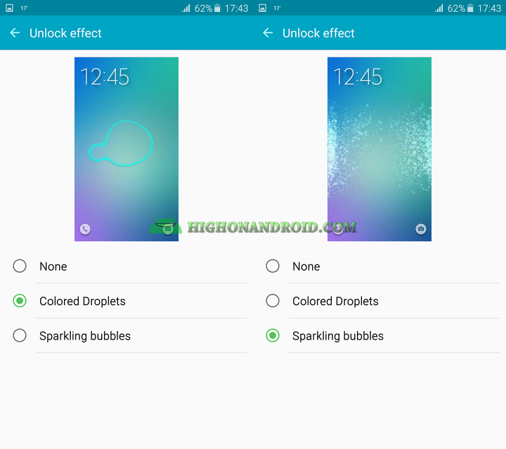 how to change unlock effect on galaxy note 5 2