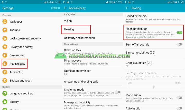 how to turn on flashlight notification on galaxy note 5