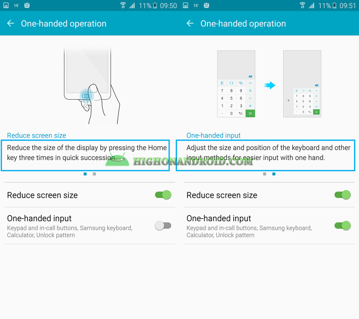 how to use one handed operations on galaxy note 5 2