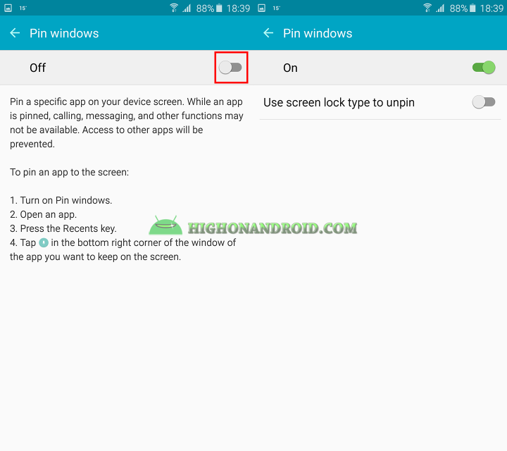how to use screen pinning feature on galaxy note 5 2