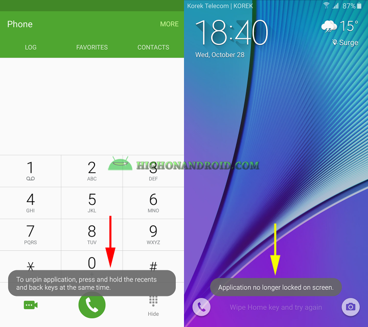 how to use screen pinning feature on galaxy note 5 8
