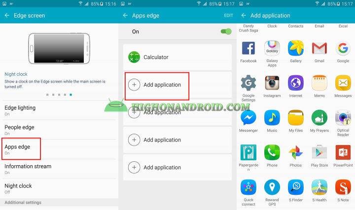 How to launch apps from edge screen on galaxy s6 edge plus