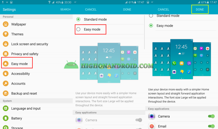 how to enable easy mode on galaxy note 5