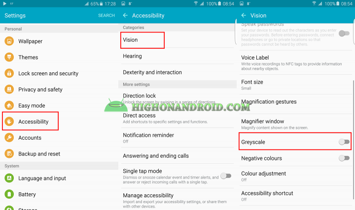 how to enable grayscale mode on galaxy note 5