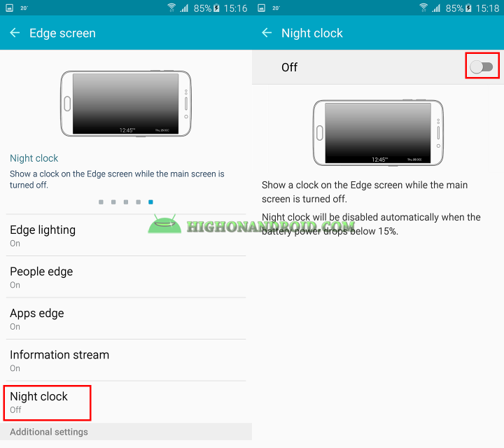 how to show night clock on galaxy s6 edge plus